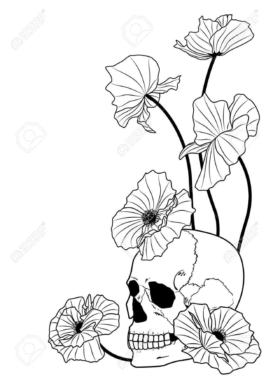 24 Black And White Poppy Tattoos