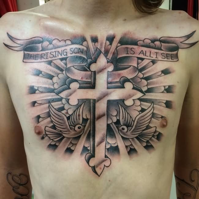 Cross With Clouds Tattoo: 35+ Cloud Tattoos On Chest