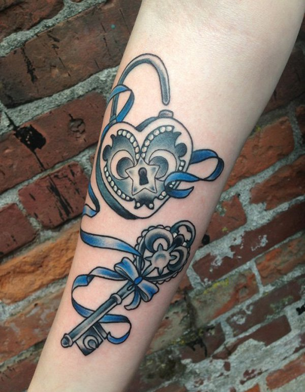 13 forearm skeleton key tattoos for Heart lock and key tattoo