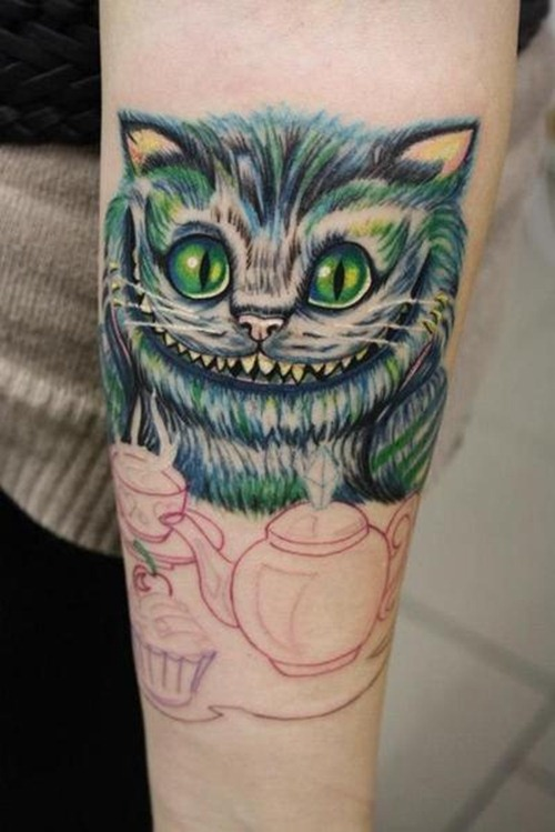 55 awesome cheshire cat tattoos. Black Bedroom Furniture Sets. Home Design Ideas