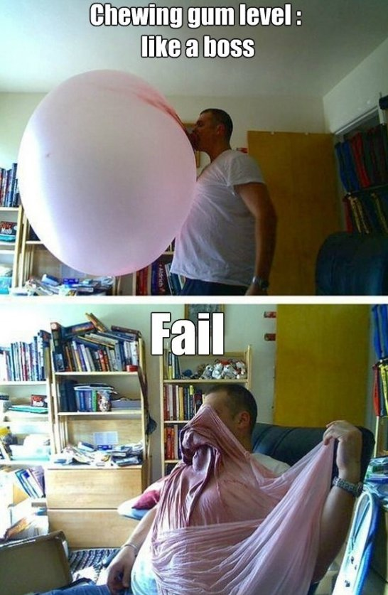 Chewing Gum Fail Funny Meme Picture