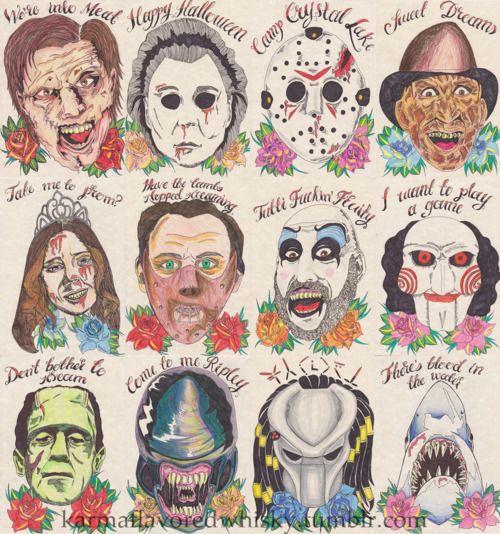 Horror Movie Tattoo Flash 24+ Horror Tatt...