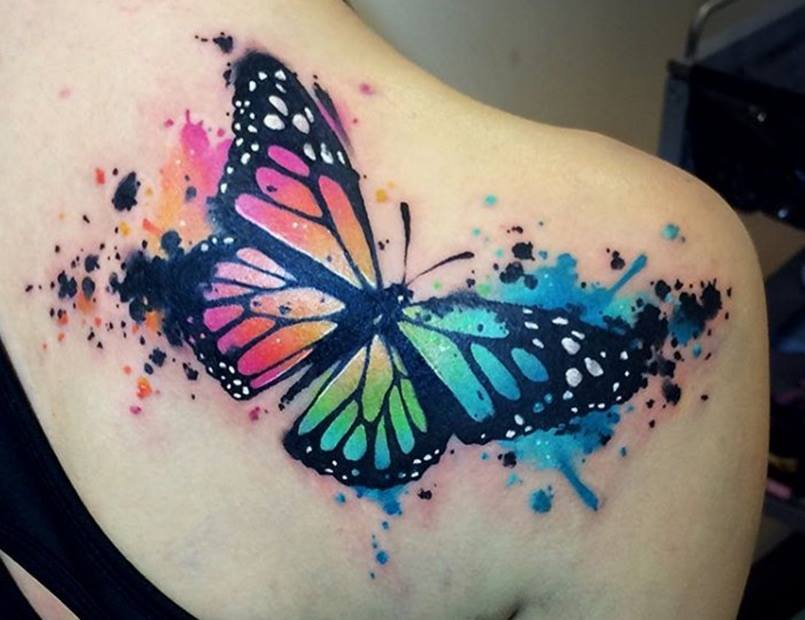 watercolor tattoo butterfly - 805×620
