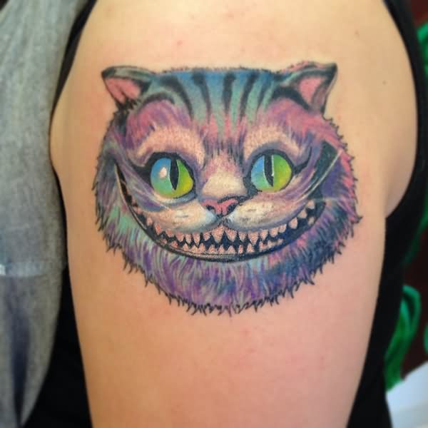 colorful cheshire cat tattoo on left shoulder. Black Bedroom Furniture Sets. Home Design Ideas