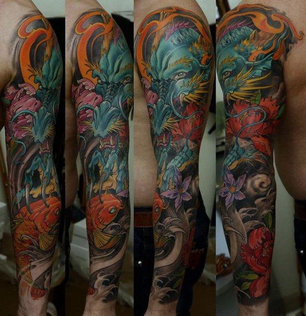 28 colored full sleeve tattoos for Koi carp tattoo colours