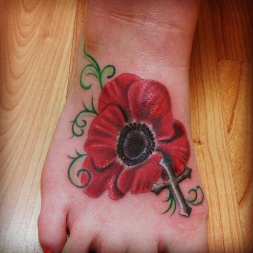 29 poppy flowers foot tattoos cool poppy flower with cross tattoo on right foot mightylinksfo Choice Image