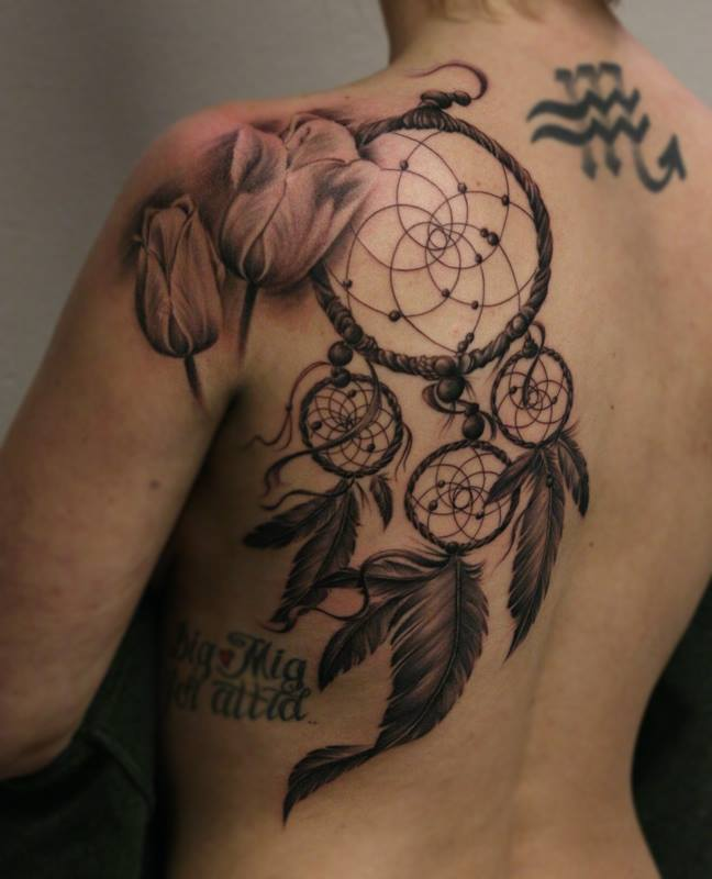Mandala dreamcatcher tattoo on shoulder for What do dreamcatchers do