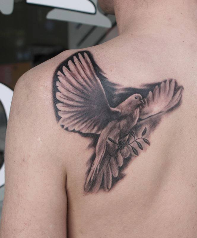 Flying Pigeon Tattoo On Left Back Shoulder by Anders Grucz