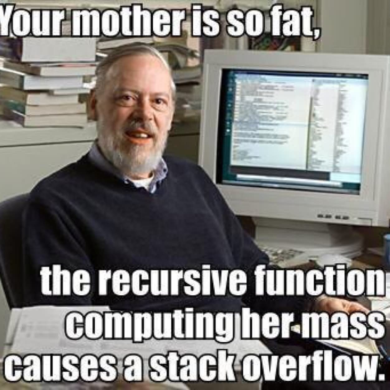 Funny Computer Meme Your Mother Is So Fat The Recursive Function Computing Her Mass Cause A Stack Overflow Picture