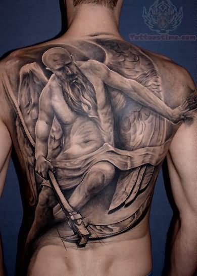 Grey Ink Man With Angel Wings Tattoo On Man Full Back