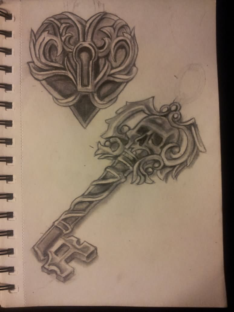 Skull key tattoo images galleries for Lock and key decor