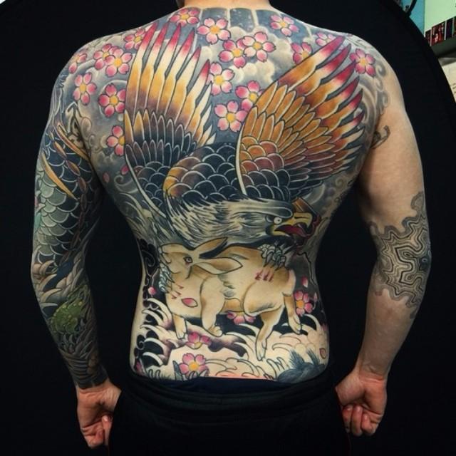 33 full back japanese tattoos for Eagle tattoo on back