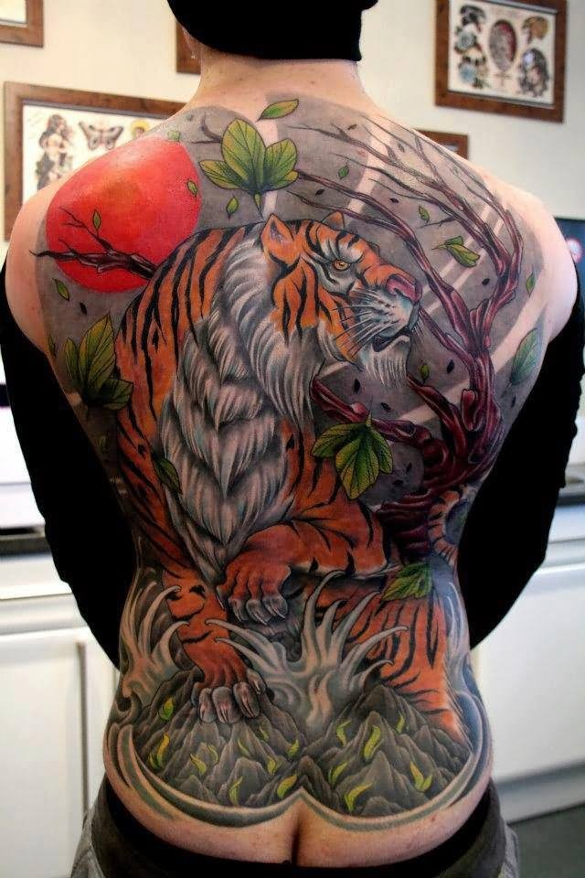beautiful japanese tigers in waterfall tattoo on full back. Black Bedroom Furniture Sets. Home Design Ideas