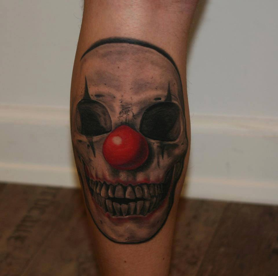 Killer Clown Skull Tattoo On Leg by Anders Grucz