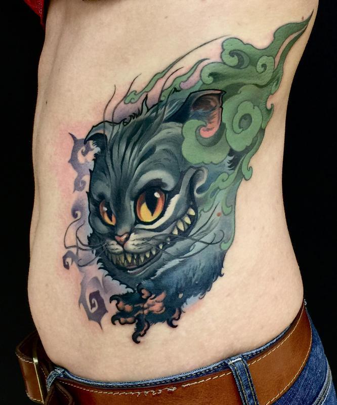 Left Rib Side Cheshire Cat Tattoo