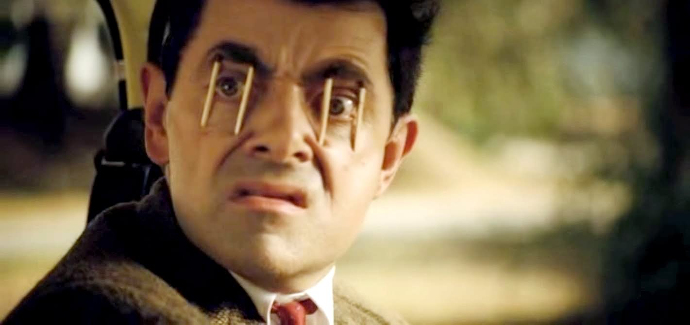 Image result for mr bean matchstick eyes