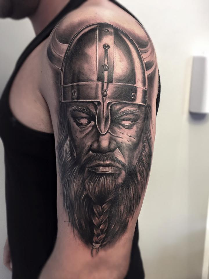 nordic viking tattoo on left half sleeve. Black Bedroom Furniture Sets. Home Design Ideas