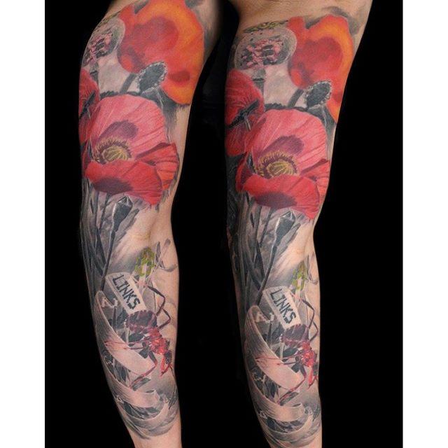 Poppy Half Sleeve Tattoo: 36+ Opium Poppy Flowers Tattoos