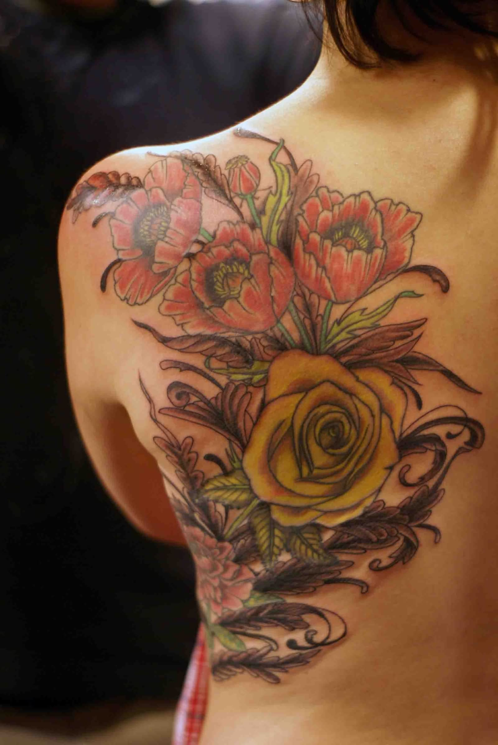 45 awesome poppy tattoos for Rose tattoo on back shoulder