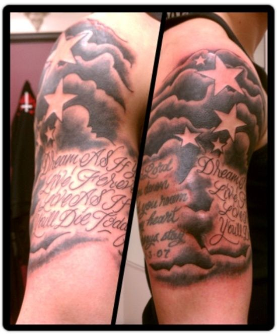 14 half sleeve clouds tattoos