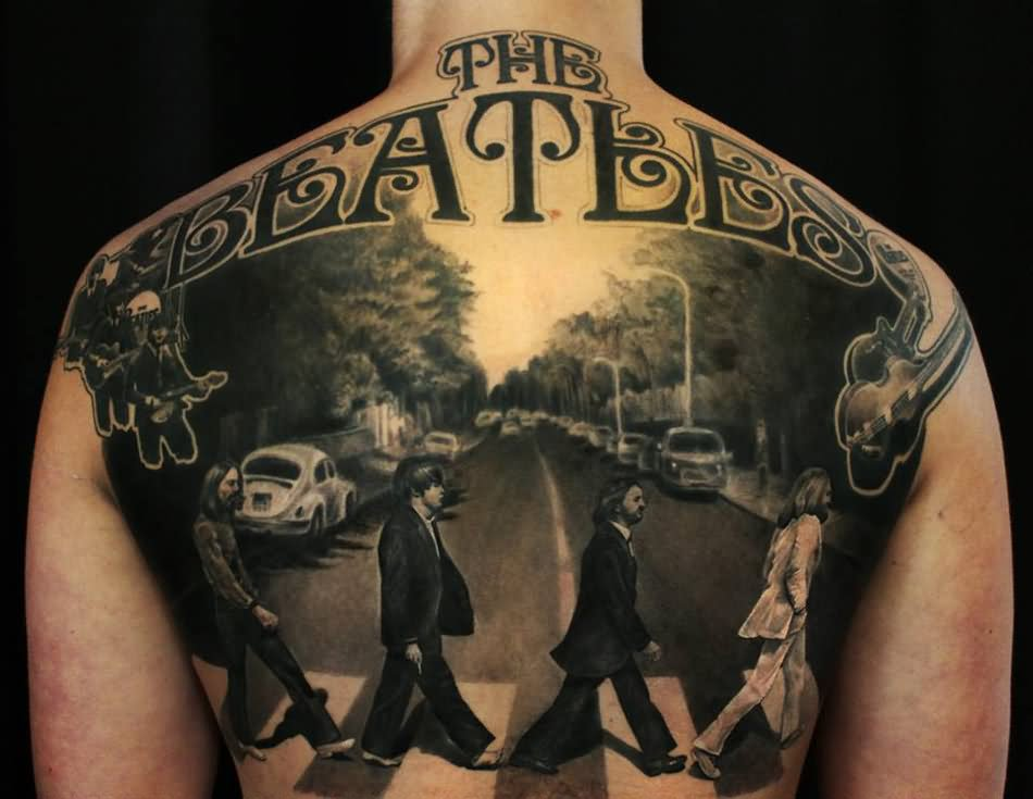 Realistic Beatles Abbey Road Tattoo On Back