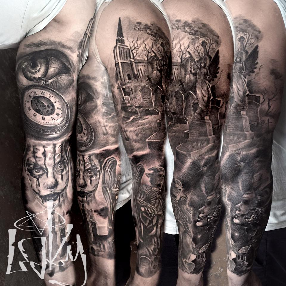 30 great full sleeve tattoos by maksims zotovs. Black Bedroom Furniture Sets. Home Design Ideas