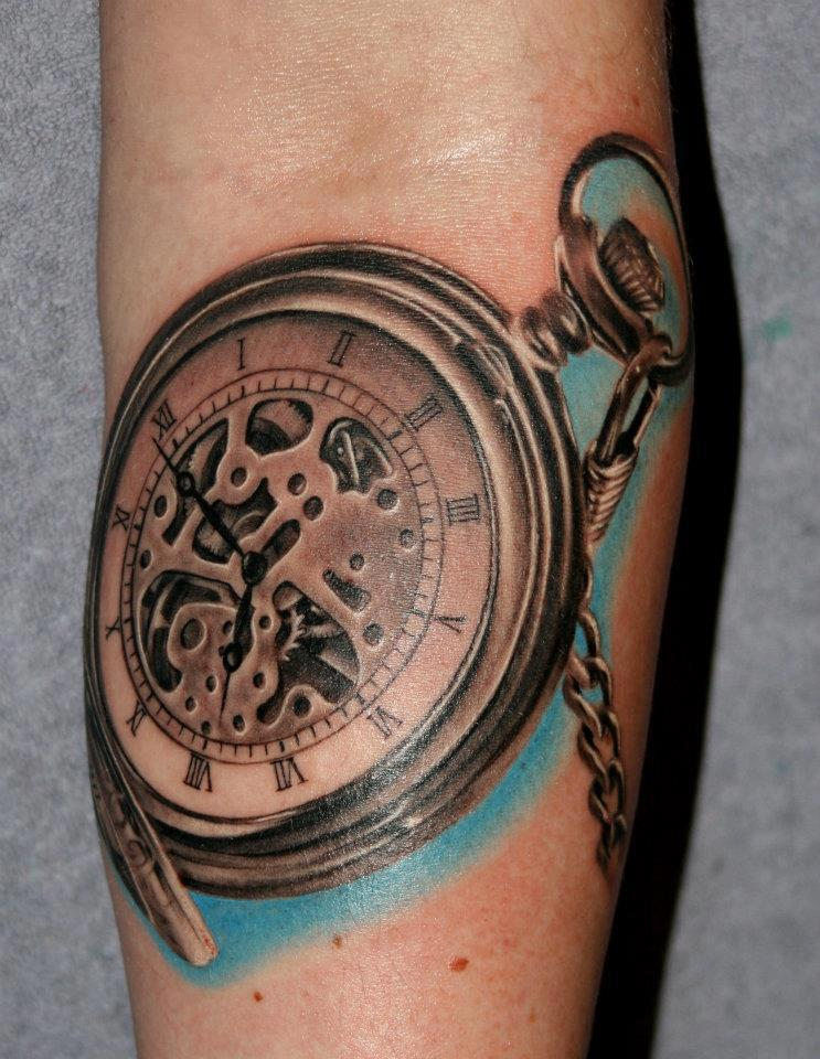 realistic pocket watch tattoo by nissen. Black Bedroom Furniture Sets. Home Design Ideas