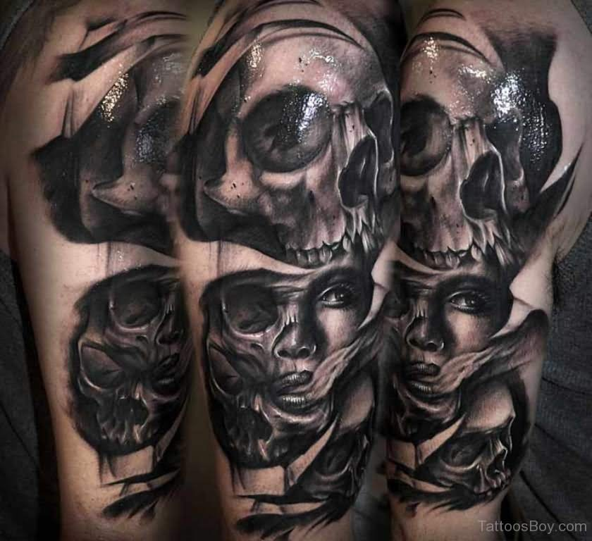 ad38c170baabf Ripped Skin Horror Girl Face With Skulls Tattoo On Half Sleeve