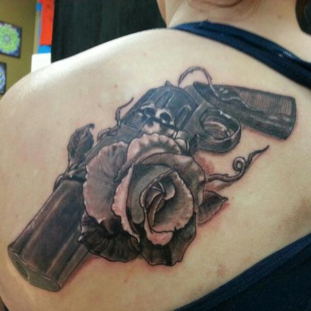 55 amazing revolver tattoos for Rose tattoo on back shoulder