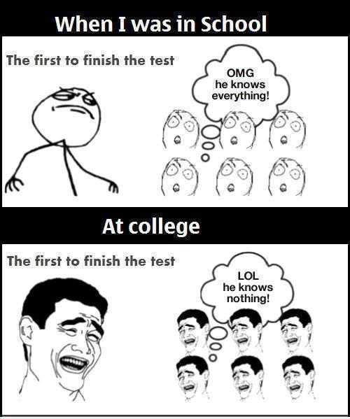 School Test And College Test Funny Meme Image