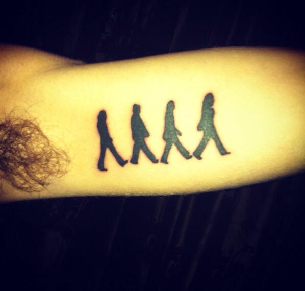 Silhouette Beatles Abbey Tattoo Design For Bicep