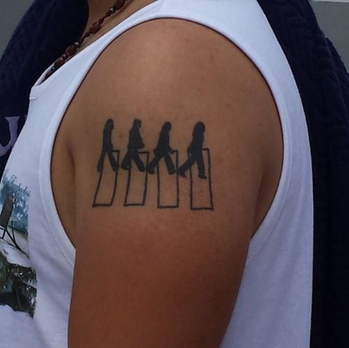 f8ba3e262 Silhouette Beatles Abbey Tattoo On Left Shoulder