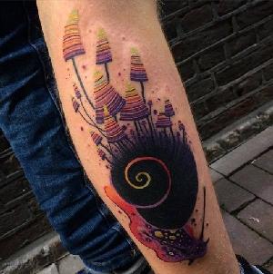 Abstract Astronaut Tattoo On Women Left Half Sleeve