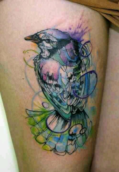 Blue Jay Flying Tattoo