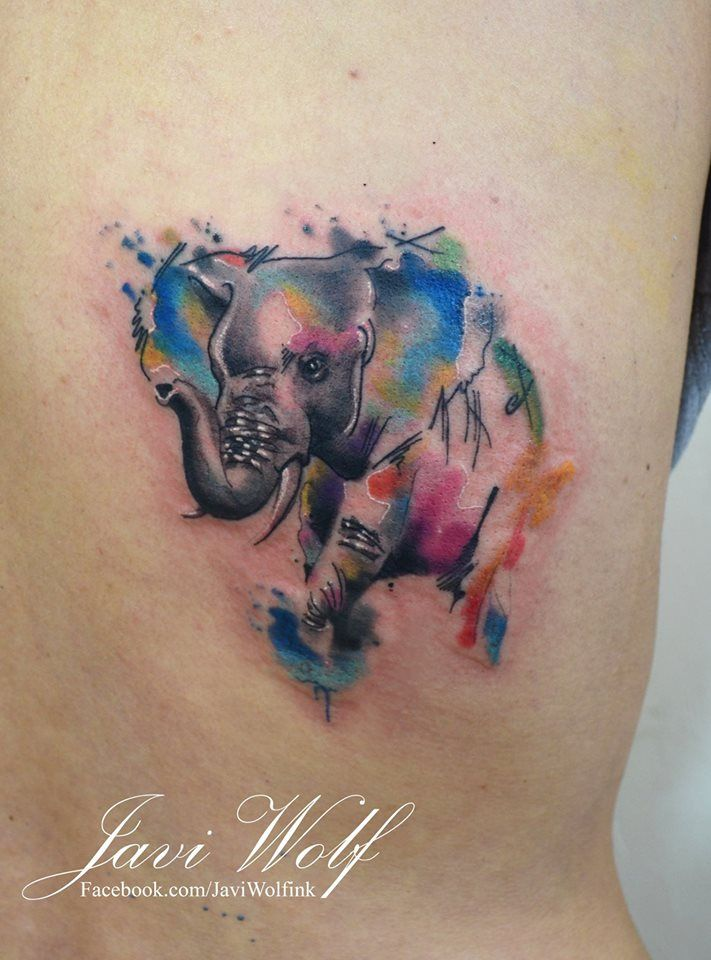 watercolor abstract elephant tattoo design by javi wolf. Black Bedroom Furniture Sets. Home Design Ideas