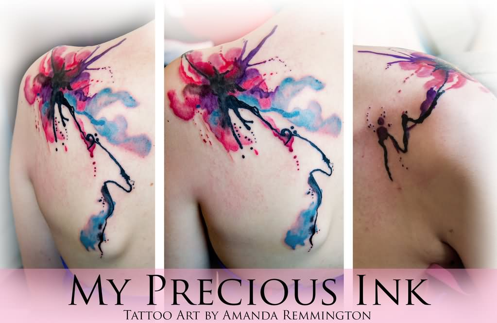 Watercolor abstract flower tattoo on left back shoulder by for Abstract flower tattoo