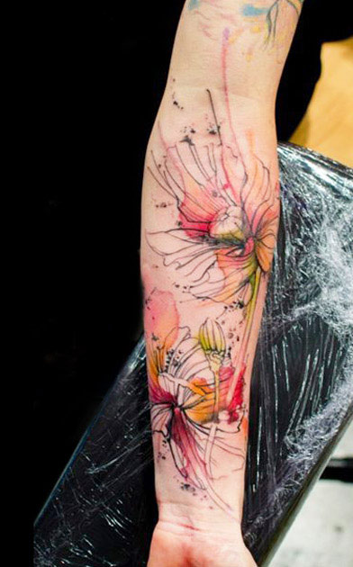 47+ Abstract Flower Tattoos Xoil Sleeve Tattoo