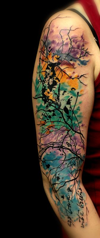 9 abstract tattoos on half sleeve for Abstract flower tattoo