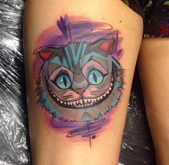 watercolor cheshire cat tattoo on thigh. Black Bedroom Furniture Sets. Home Design Ideas