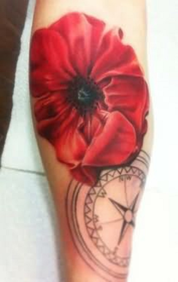 Wonderful Poppy Flower With Compass Tattoo Design For Sleeve By