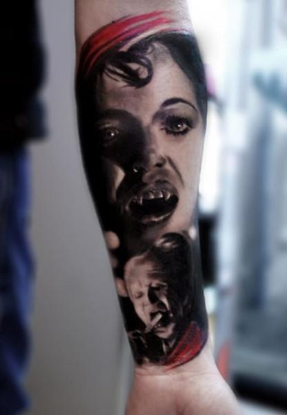 cd28a0e35 Best Horror Vampire Girl Face Tattoo On Forearm