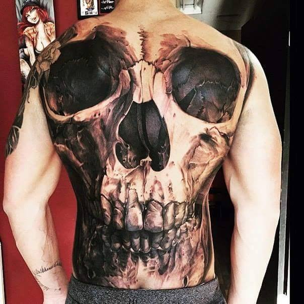 black and grey skull tattoo on full back. Black Bedroom Furniture Sets. Home Design Ideas