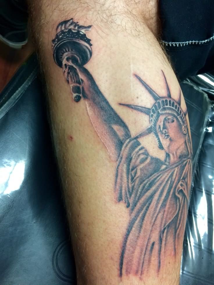 black and grey statue of liberty tattoo design for leg calf. Black Bedroom Furniture Sets. Home Design Ideas