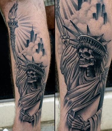 1f8d8f3507938 Black Ink Statue Of Liberty Skeleton Tattoo On Leg