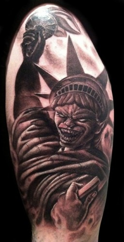 Evil Statue Of Liberty Tattoo Design For Half Sleeve By Timothy Boor