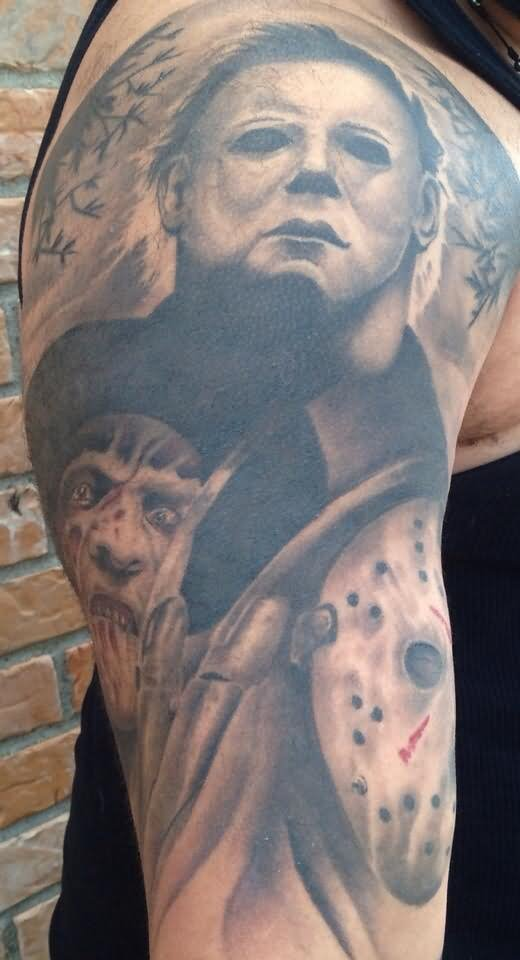 25 amazing horror tattoos on sleeve for Michael myers tattoo