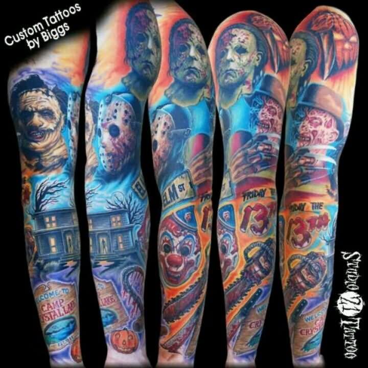 Horror Movie Tattoos Tattoos: 25+ Amazing Horror Tattoos On Sleeve