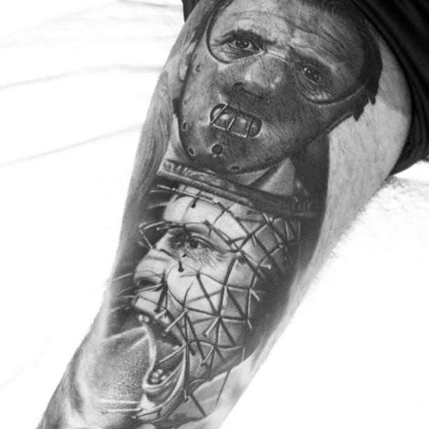 25 amazing horror tattoos on sleeve. Black Bedroom Furniture Sets. Home Design Ideas