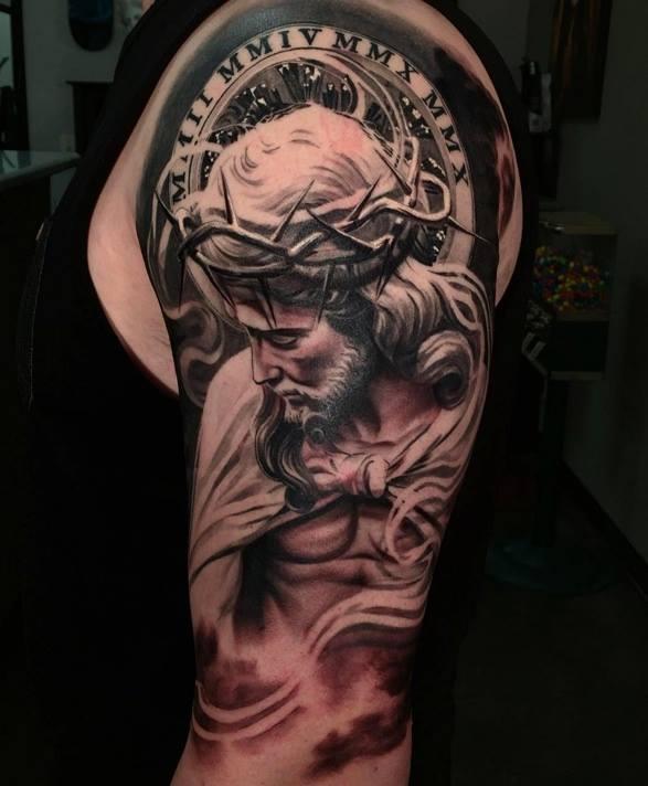 3d jesus tattoo on man left half sleeve by daniel rocha for Tattoos of black jesus