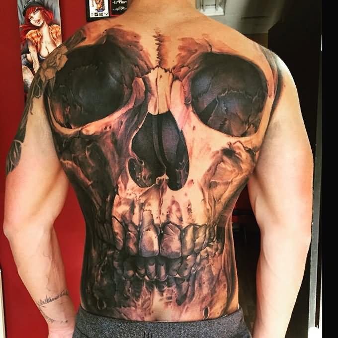Sword In Skull Tattoo On Full Back